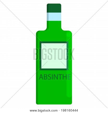 Absinthe bottle alcoholic beverage flat icon, vector sign, colorful pictogram isolated on white. Symbol, logo illustration. Flat style design