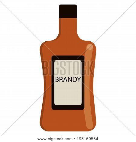 Brandy bottle alcoholic beverage flat icon, vector sign, colorful pictogram isolated on white. Symbol, logo illustration. Flat style design