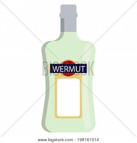 Vermouth bottle alcoholic beverage flat icon, vector sign, colorful pictogram isolated on white. Symbol, logo illustration. Flat style design