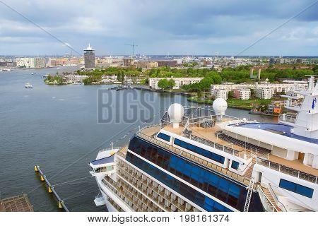 Luxury Cruise Ship in Port Amsterdam .