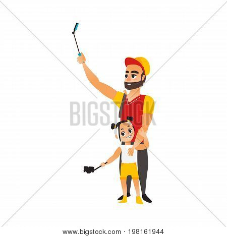 Vector adult man and child girl makes selfie. Flat cartoon style Isolated illustration on a white background.Tourists - Bearded Man and girl in fashion clothing makes photo by selfie stick on vacation