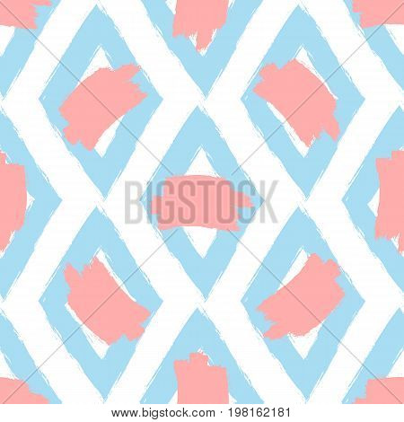 Repeated rhombuses and stains of paint. Drawn by hand with a rough brush. Seamless pattern. Ink grunge sketch graffiti watercolor. Vector illustration. White pink blue.