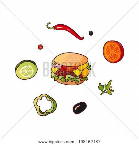Vector flying ingredients, burger set flat isolated illustration on a white background. Vegetables for pizza, sandwich, roll shawarma fastfood preparation. Chilli, tomato pepper olive cucumber cartoon