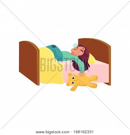 Pretty little girl sleeping, tight asleep with her teddy bear in bed, cartoon vector illustration isolated on white background. Cartoon little girl sleeping soundly in bed with big funny teddy bear