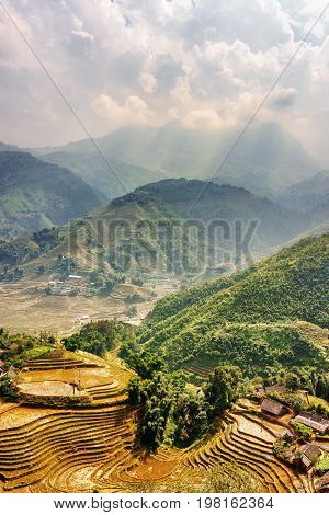 Top View Of Village Houses And Rice Terraces Of Sa Pa, Vietnam