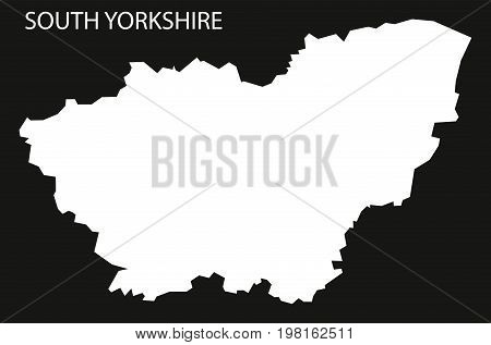 South Yorkshire England Uk Map Black Inverted Silhouette Illustration