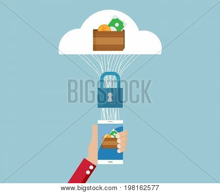 e-wallet, e-business on smartphone security concept vector illustration