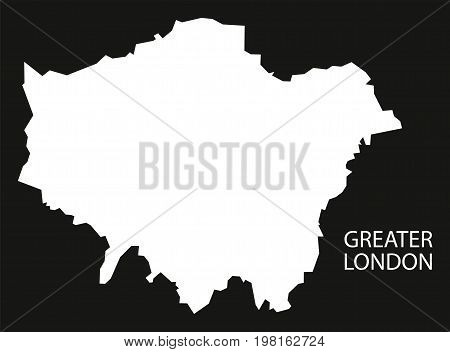 Greater London England Uk Map Black Inverted Silhouette Illustration