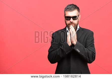 Business And Success Concept. Man With Beard And Classic Suit