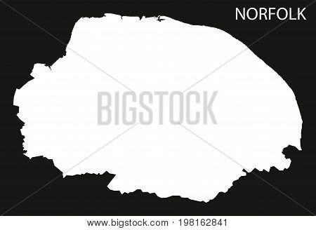 Norfolk England Uk Map Black Inverted Silhouette Illustration