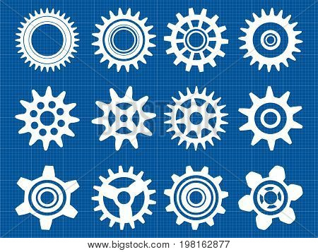 Gears Isolated On Blue