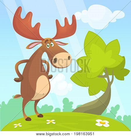 Cool carton moose. Vector illustration on a wood background