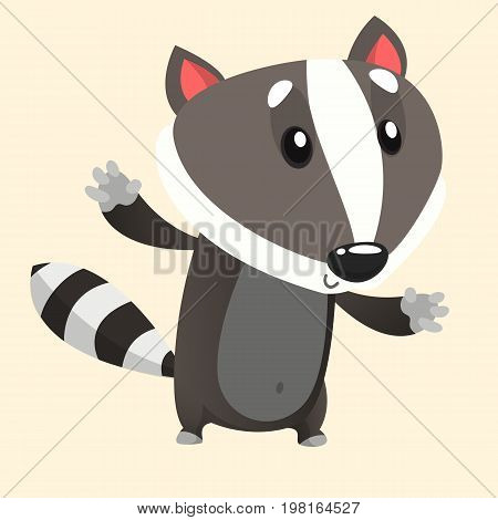 Cute cartoon badger illustrated. Vector animal icon