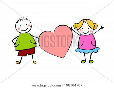 Boy And Girl (or Man And Woman) With Heart.