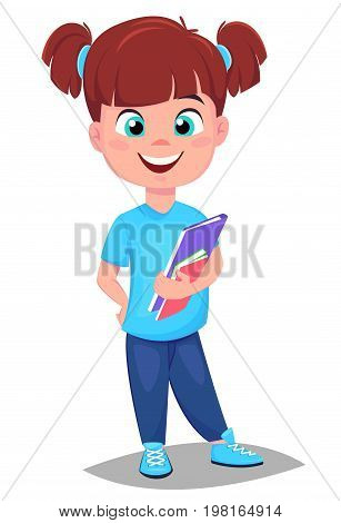 Back to school. Cute girl with book in casual clothes. Pretty little schoolgirl. Cheerful cartoon character. Vector illustration