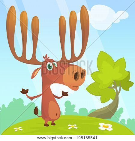 Cool cartoon moose character. Vector moose illustration.