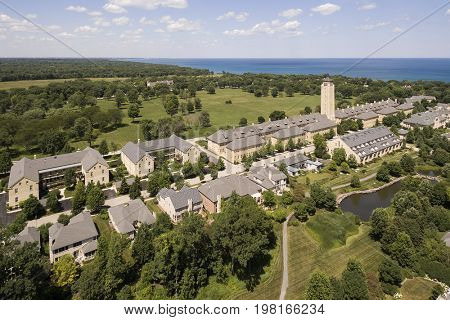 Aerial view of Fort Sheridan with Lake Michigan in the distance in the Northern Suburbs of Chicago, IL.