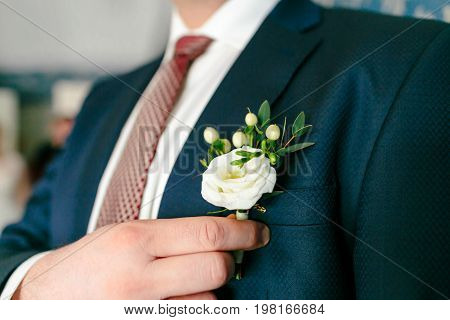 Groom is pinning a boutonniere to a suit. Wedding preparation. Close-up
