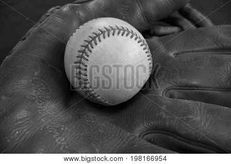 Black & White Vintage Baseball Glove and Baseball
