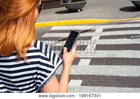 Shapely Woman Walking Trough Crossroad 03