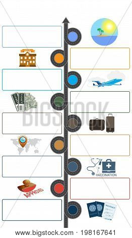 Tourism and travel concept infographic. Template 9 positions.