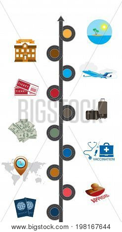 Tourism and travel concept infographic. Template 10 positions.