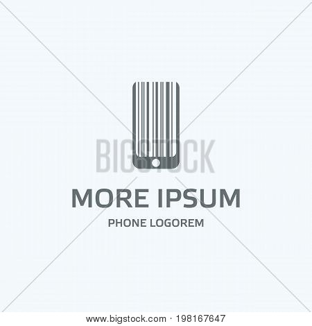 Gray phone logo template. Flat phone silhouette with lines looks like a barcode. Isolated vector icon with text for mobile on a white background.