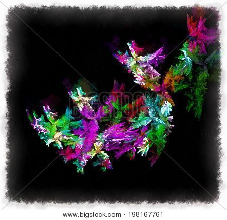 abstract image with black background and falling stylized green purple flowers
