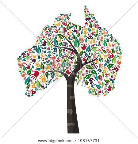 Australia Hand Print Tree Symbol For World Help