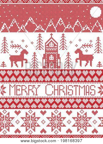 Nordic style and inspired by Scandinavian cross stitch craft merry Christmas pattern in red and white including  winter wonderland village, church, xmas trees, mountains, starts , snowflakes, reindeer