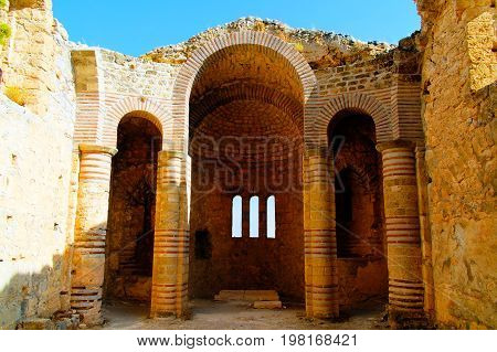 Interior view to Saint Hilarion Castle at Kirenia, Northen Cyprus