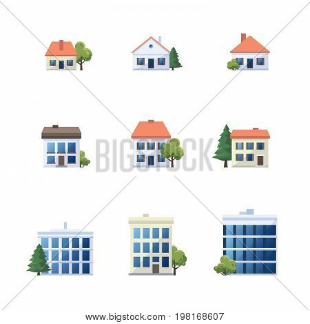 Flat vector cartoon style illustration of different building types. Set of city office buildings family houses and apartment architecture icons with green trees isolated on white background.