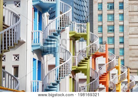 Amazing Colorful Exterior Spiral Staircases, Singapore