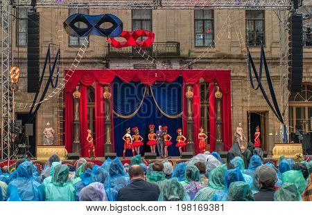 Gatchina, St. Petersburg, Russia - June 18, 2017: Scene from the operetta Mr. X. The performance took place at the Gatchina Palace - the residence of Emperor Paul I. During the performance it rains.