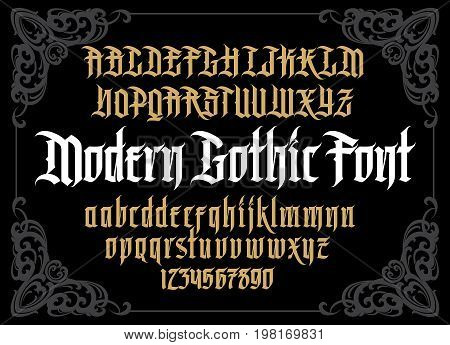 Vector modern gothic alphabet in framef. Vintage font. Typography for labels, headlines, posters etc. poster