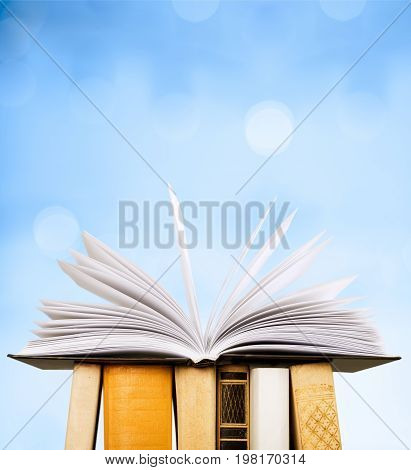 Stack book opened books white background nobody