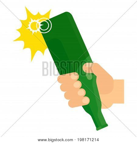 Hit of bottle. Hand holds a green bottle of beer. Aggression street fight quarrel and conflict. Flat vector cartoon illustration. Objects isolated on a white background.