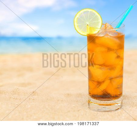Delicious ice cocktail color background party relaxation