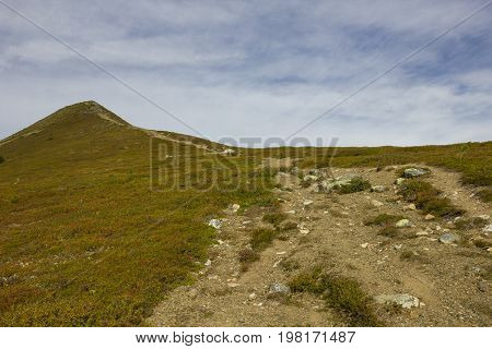 High to the summit of the mountain in Idre.