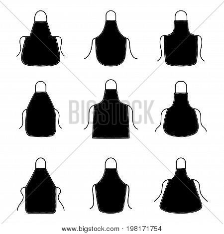 Set of silhouettes of aprons, vector illustration