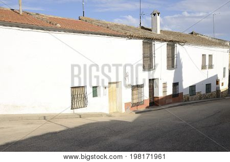White street in Belmonte a village located in the province of Cuenca Castile-La Mancha Spain.