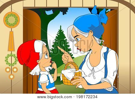 Mom in a blue scarf and daughter in a red hat