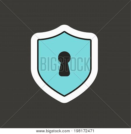 Shield with keyhole isolated on background. Security sign. Vector stock.