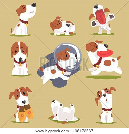 Cute little puppy in his evereday activity set, dogs daily routine funny colorful character vector Illustrations