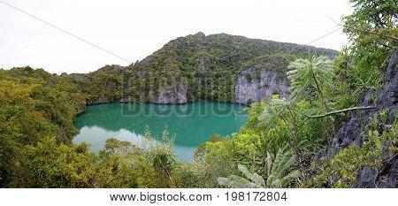 Panorama view of green Lagoon at ang thong archipelago island Thailand.