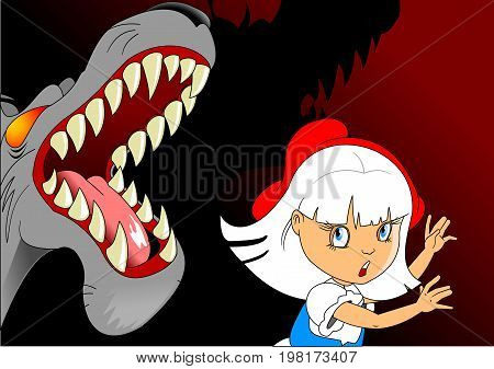 Evil and terrible wolf attacked a little girl illustration