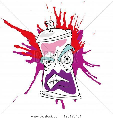 Vector spray graffiti with colored paints isolated on white background.