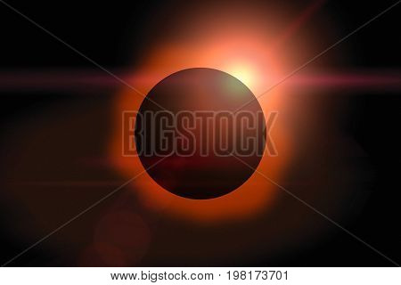 Solar Eclipse On Dark Sky