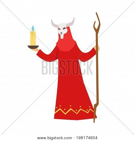 Female shaman in a red dress and horned mask performing authentic ritual vector Illustration on a white background