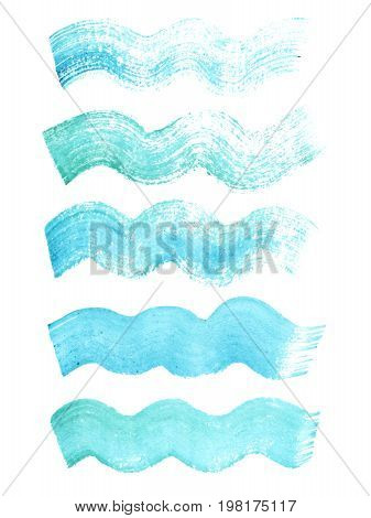 Hand painted blue watercolor grunge wavy brush strokes. Textures for your design.
